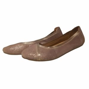 Vionic caroll women's shimmery pewter leather ballet flats